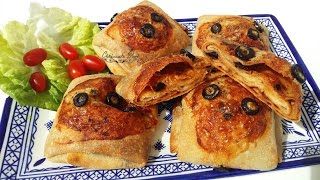 getlinkyoutube.com-رغايف معمر فالفرن بنكهة البيتزا | Msemen farci gout pizza