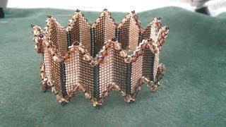 getlinkyoutube.com-Beading4perfectionists : Stitch nr. 15 : Diagonal Peyote bangle bracelet beading tutorial