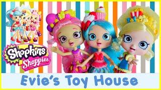getlinkyoutube.com-Shopkins Shoppies Dolls - Full Set - Popette Jessicake Bubbleisha With Exclusives   Evies Toy House