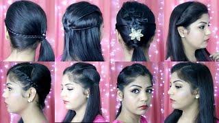 getlinkyoutube.com-4 Quick and Easy Hairstyles | Indian Party Heatless Hairstyles | SuperPrincessjo