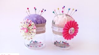 getlinkyoutube.com-Tutorial: Porta e puntaspilli con riciclo - DIY Pincushion with recycle materials