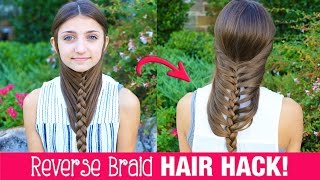 getlinkyoutube.com-HAIR HACK: DIY Reverse Braid in Under 2 Minutes! | Life Hacks | Cute Girls Hairstyles