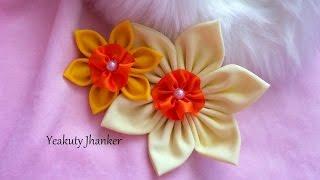 getlinkyoutube.com-DIY: Make a kanzashi fabric flower hair clip