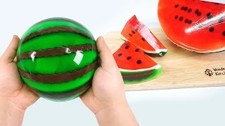 getlinkyoutube.com-HOW TO MAKE A JELLO WATERMELON !! Diy Gummy Jello Watermelon Slices - Pudding Jelly Monsterkids