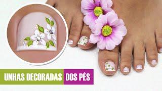 getlinkyoutube.com-Unhas do Pé Decoradas com Flores   Cola na Villar
