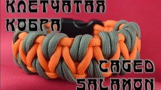 "getlinkyoutube.com-Паракорд Плетение браслета ""Клетчатая кобра"" (Paracord Caged Salamon bracelet)"