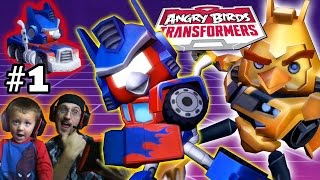 getlinkyoutube.com-Lets Play Angry Birds Transformers Part 1: Free Bumblebee! (Dad & Chase Gameplay Commentary)