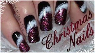 getlinkyoutube.com-Rote Weihnachtsnägel mit Puschel / Klassisches Weihnachts Nageldesign / Classic Red Christmas Nails