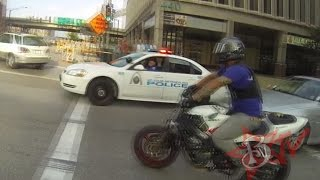 getlinkyoutube.com-Bike Vs Police CHASE Motorcycle Stunts RUNNING From The Cops Riding WHEELIES Cop CHASES