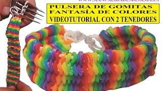 getlinkyoutube.com-COMO HACER PULSERA DE GOMITAS FANTASÍA DE COLORES CON 2 TENEDORES VIDETUTORIAL BRACELET SIN TELAR