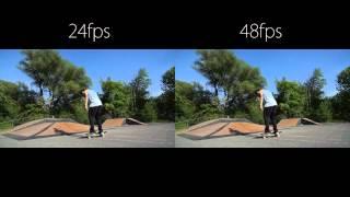 24 vs 48 frames per second skateboarding action footage