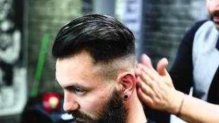 getlinkyoutube.com-Men's Hair Styling by Antonios Boukas JUST MEN  coiffure  Veroia #razor #fade