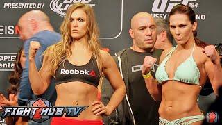 getlinkyoutube.com-RONDA ROUSEY VS. CAT ZINGANO - FULL VIDEO- UFC 184 FULL WEIGH IN + FACE OFF
