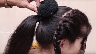Beautiful Hairstyle for Wedding/party/Function | Hair Style Girl | Braided Bun Hairstyles for Party width=