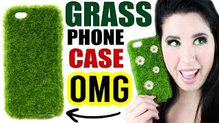 getlinkyoutube.com-DIY Grass Phone Case! | Phone Case That Looks And Feels Just Like Your Yard! | Weird iPhone Cases!