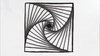 getlinkyoutube.com-[だれでも描ける!線画アート] おりがみをずらしたような絵の描き方[ゼンタングル]  How to draw zentangle