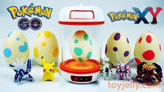 getlinkyoutube.com-Pokemon GO Surprise Eggs Toys Slime Clay With Pokemon Incubator Playset