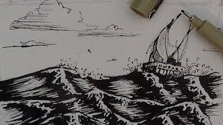 getlinkyoutube.com-Pen and Ink Drawing Tutorial | How to draw water