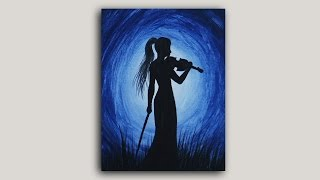 getlinkyoutube.com-Acrylic Painting - Violinist Silhouette Painting