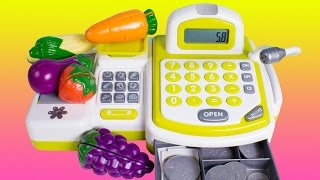 getlinkyoutube.com-Cash Register with Toy Cutting Fruits and Vegetables Just Like Home Toy Food Cooking Playset