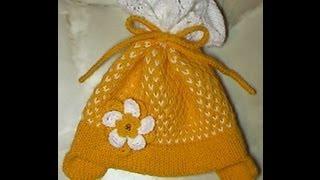 getlinkyoutube.com-Шапочка для девочки (одним уроком). Вязание на спицах