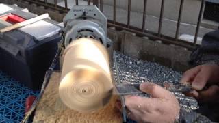getlinkyoutube.com-Mini Torno caseiro brincando com madeira