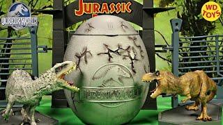 New Giant Jurassic World Surprise Egg / TRex Vs Indominus Rex / Velociraptor, Spinosaurus, Unboxing