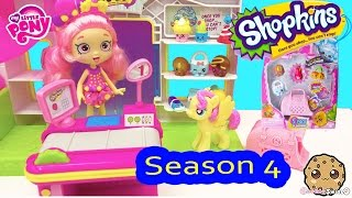 getlinkyoutube.com-Season 4 Shopkins 5 Pack Unboxing with Blind Bag at Small Mart Playset with POP My Little Pony