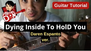 Chords of Dying Inside To Hold You - Easy Guitar Tutorial - Darren Espanto ver.