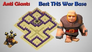 getlinkyoutube.com-Best TH5 Clan War Base Anti Giant Healer | Anti 3 Star New Updated Video