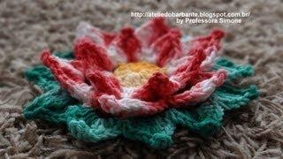 getlinkyoutube.com-Flor Natalina em Crochê Parte-1