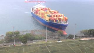 getlinkyoutube.com-Container ship sails straight to shore by university football field
