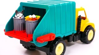 getlinkyoutube.com-Garbage Truck Playset for Kids!! Toy Vehicles for Boys