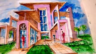 getlinkyoutube.com-Dibujar usando un punto de fuga para la perspectiva Arq.  David Sosa