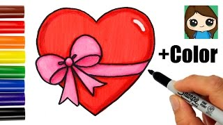 getlinkyoutube.com-How to Draw + Color a Heart with a Bow Ribbon Emoji Easy