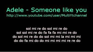getlinkyoutube.com-Someone like you - flauta dulce notas - Partitura - Adele - Recorder - Score