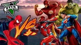 getlinkyoutube.com-GTA V PC MODS - SPIDERMAN VS SUPERHEROES !! BATALLAS DE GTA 5 - ElChurches