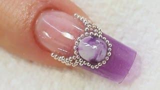 getlinkyoutube.com-Purple Jewel Acrylic Nail Art Tutorial Video by Naio Nails
