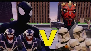 getlinkyoutube.com-Black Suit Spiderman + Symbiotes vs Darth Maul + Clone Troopers
