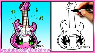 getlinkyoutube.com-Learn to draw - Cute Guitar - Best Cartoon Art Lessons by Fun2draw - Back to School