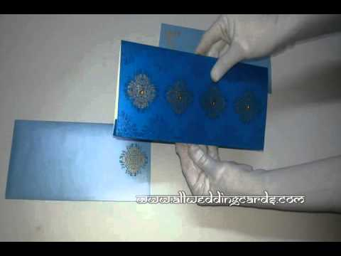 W-4479, Smoky Blue Color, Shimmer Teal Paper, Islamic Wedding Invitati