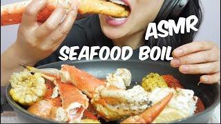 ASMR KING CRAB + LOBSTER CLAWS (Seafood Boil) EATING SOUNDS   SAS-ASMR No Talking