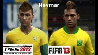 PES 2013 vs FIFA 13 Face Comparison BRASIL (National Team)