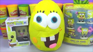 getlinkyoutube.com-Giant Surprise Egg SpongeBob Square Pants Play Doh with toys from Disney Frozen and More!