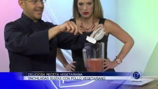 Enchiladas Suizas con pollo vegetariano por el Chef Eddie Garza