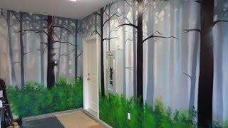 getlinkyoutube.com-How To Paint A Misty Forest Mural Using Spray Paint
