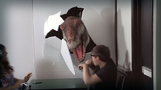 getlinkyoutube.com-Jurassic Prank 8 - Oh Nothing, just a T-Rex at Youtube Space LA!