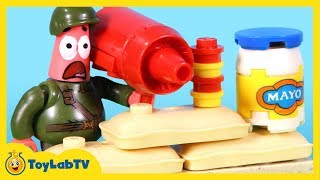 getlinkyoutube.com-SpongeBob Sponge Out of Water Toys Mega Bloks Photo Booth Time Machine Pickle Tank Attack Movie