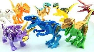 getlinkyoutube.com-8 colourful lego Jurassic World Dinosaurs - Tyrannosaurus Indominus Rex Velociraptor