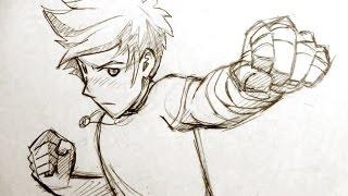 getlinkyoutube.com-How to Draw Manga Fighting Pose: Punching Fists!